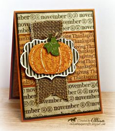 Thanksgiving Fall Pumpkin Card by RockyMtnPaperCrafts on Etsy, $2.95