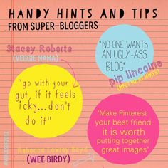 Handy hints and tips for bloggers