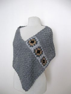 Items similar to Crochet grey poncho with granny square motifs gift guide fall winter fashion on Etsy Crochet Poncho Patterns, Crochet Scarves, Crochet Shawl, Crochet Clothes, Crochet Stitches, Crochet Hooks, Love Crochet, Crochet Granny, Beautiful Crochet