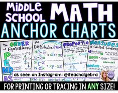 Middle School Math Anchor Charts are here! ✌🏻💜 This is going to be a massive growing bundle that will include skills and topics for 6th,…
