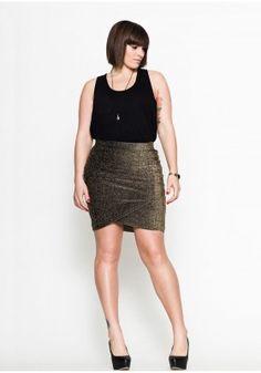 d6dfb9b9aeb Francolin Gold ruched metallic stretch skirt  98.66. Tara Stone · Make it  work! Mad Men inspired  Joan  Midi Dress. In plus sizes!