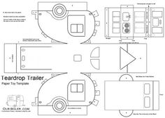 teardrop paper toy template coloring page