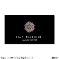 Elegant Lotus Flower Logo Yoga Double-Sided Standard Business Cards (Pack Of 100)