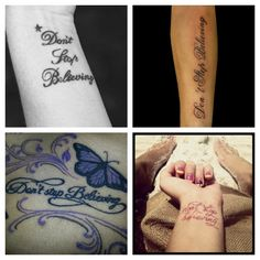 Frase in Inglese per Tatuaggio Don t Stop Believing