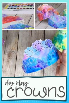 DIY Play Crowns <br> Make these colorful painted crowns perfect for any celebration or play date. All you need are doilies and watercolors for these DIY paper crowns. Craft Activities, Preschool Crafts, Preschool Painting, Vbs Crafts, Camping Activities, Nature Crafts, Wood Crafts, Summer Crafts, Diy And Crafts