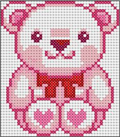 Teddy love perler bead pattern