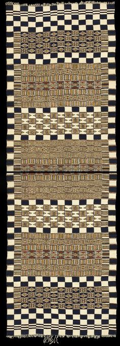 Africa | Wedding blanket or tent hanging.  Woven by the Fulani for a Tuareg noble family. Inaldn Detalt region, Mali or Niger | 1st half 20th century | Handspun local wool and cotton; indigo and natural dyes.  Strip weave technique~ 15 strips; slit tapestry weave; plain weave.