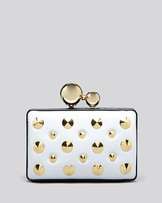 This bold Franchi clutch will add a touch of mod 60s style to your nighttime ook,metal/polyurethane/metal studs,imported and removable chain strap