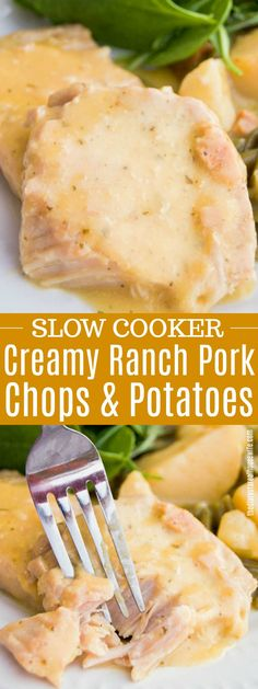 Your entire meal made in your slow cooker and coved in a creamy ranch sauce. This easy Slow Cooker Creamy Ranch Pork Chops and Potatoes was a family favorite. Pork chops, green beans, and potatoes slow cooked to perfection. Crockpot Dishes, Crock Pot Slow Cooker, Pork Dishes, Crock Pots, Slow Cooking, Cooking Recipes, Cooking Tips, Cooking Pasta, Cooking Games