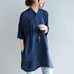Chine oblique blouse handmade shirt dress  #loosepants #linen #overalls #linendress #OnePiece #pants