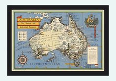 Old Map Australia Oceania New Zealand Antique by OldCityPrints