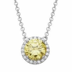 Yellow Crystal Emotions Sterling Silver Necklace - Made with Swarovski Zirconia