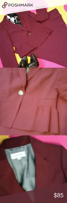🍁Calvin Klein dress suit sz 12 Sleek and stylish suit in plum with a line skirt and gathered waist jacket for a very feminine look and feel. Poly-nylon-acetate blend.EUC Calvin Klein Dresses
