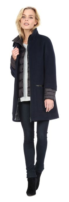 Soia and Kyo LETIZIA Semi-fitted wool coat with puffy bib in Night