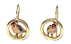 Victorian Gold Finch Earrings, circa 1870, depicting a pair of three-dimensional golden finch perched on gold hoops.