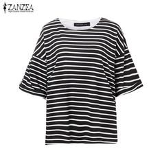 Fashion Striped Tee Tops Tees Casual Loose O Neck Batwing Sleeve T Shirt For Women Plus Size