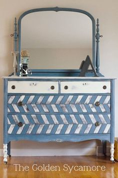 painted herringbone dresser, chalk paint, painted furniture, Herringbone treatment on vintage dresser I used ASCP Old White and homemade blue chalk paint to give this dresser a bit of style