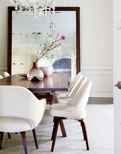 Great dinning room; white w/ wood.