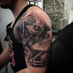 Guys arms skull and lady kissing day of the dead tattoo Skull Sleeve Tattoos, Sugar Skull Tattoos, Leg Tattoos, Family Tattoos For Men, Tattoos For Women, Tattoos For Guys, La Catarina Tattoo, Day Of The Dead Tattoo Sleeve, Day Of The Dead Tattoo For Men