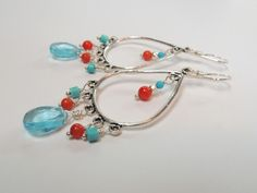 Aqua Quartz, Turquoise, Coral, Sterling Silver Chandelier Earrings – Beth Lerner Jewelry http://bethlernerjewelry.com/collections/earrings/products/aqua-quartz-turquoise-coral-sterling-silver-chandelier-earrings