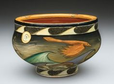 The Spark, thrown earthenware with hand-painted underglazes and clear glaze.