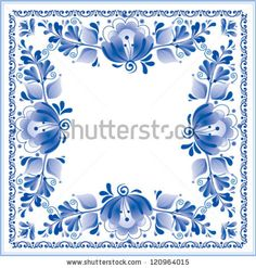 """Blue neckerchief with traditional Russian ornament """"Gzhel"""" (a brand of Russian ceramics, painted with blue on white)."""