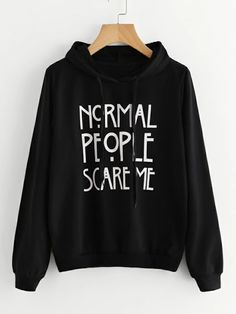 To find out about the Letter Print Drawstring Hoodie at SHEIN, part of our latest Sweatshirts ready to shop online today! Hoodie Sweatshirts, Pullover Hoodie, Sweatshirt Dress, Sweater Hoodie, Fashion Sweatshirts, Mode Emo, Mode Punk, Sarcastic Shirts, Funny Shirts