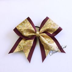 Shattered Glass Maroon and Gold Cheer Bow by desarosebowtique, $10.99
