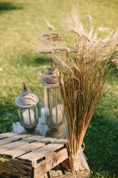 γαμος-με-σταχυα Wheat Centerpieces, Civil Ceremony, Yellow Wedding, Wedding Reception Decorations, Autumn Wedding, Rustic, Plants, Party Ideas, Weddings