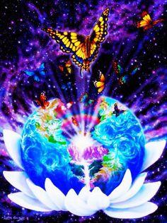 #colorful #neon #universe & #butterflies #digital #computer #art