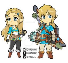 Zelda and Link Breath of the Wild Chibi The Legend Of Zelda, Legend Of Zelda Breath, Zelda Twilight Princess, Breath Of The Wild, Link Chibi, Boca Anime, Gerudo Link, Pokemon, Geek Games