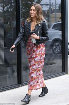 Mixing it up! Jessica Alba got in touch with her edgy and bohemian sides with her outfit when she dropped by a studio in Santa Monica on Friday