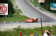 Graphic shot here of the undulation of the Mosport race track, as the suspension on Bob Bondurant's McLaren M8E/D gets fully compressed. Bondurant teamed up with Lothar Motschenbacher in the early Can-Am races in 1971 as part of a two-car team, with Lothar running his traditional #11.