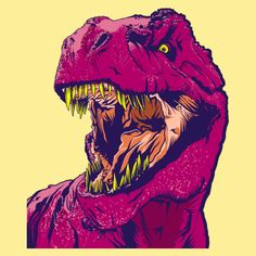 Pin It Pin It Pin It There's no question this T rex shirt comes with a bite. Dino Frenzy takes the tough T Rex and puts him in the retro neon fashion. The neon pink rex jumps out of the… Continue Reading → Dinosaur Images, Dinosaur Art, Dinosaur Wallpaper, New Retro Wave, Indie Art, Jurassic Park World, Arte Pop, T Rex, Art Inspo