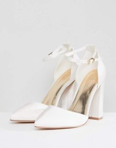 Browse online for the newest ASOS DESIGN Pebble Wide Fit Bridal Pointed High Heels styles. Shop easier with ASOS' multiple payments and return options (Ts&Cs apply). Designer Wedding Shoes, Bridal Wedding Shoes, Asos Bridal Shoes, Women's Shoes Sandals, Dress Shoes, Bride Shoes, Pretty Shoes, Girls Shoes, Marie