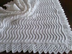 Beautiful Hand Knitted Baby Christening Shawl New