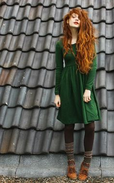 Green dress, tights, patterned socks, and suede shoes. My kind of fall outfit!