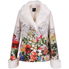Love Made Love - White Floral Blazer with Faux Fur Collar & Cuffs ($217) ❤ liked on Polyvore featuring outerwear, jackets, blazers, white floral blazer, floral print jacket, floral jacket, white blazer and evening jackets
