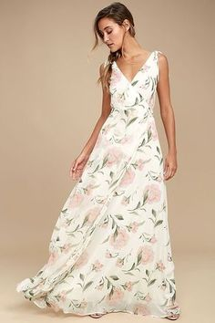 Lulus Exclusive! Take a twirl in the Romantic Possibilities White Floral Print Maxi Dress and you will see just how magical things can be! Woven poly forms wide straps, with tying detail, that flow into a surplice bodice with a plunging V-cut back. A sweeping maxi skirt falls below a fitted waist. Hidden back zipper/clasp.