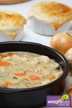 Healthy Dinner Recipes: Dijon Chicken Pie. #HealthyRecipes #DietRecipes #WeightlossRecipes weightloss.com.au