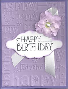 Birthday Wishes Cards, Bday Cards, Pinterest Birthday Cards, Purple Cards, Embossed Cards, Stamping Up Cards, Pretty Cards, Flower Cards, Greeting Cards Handmade