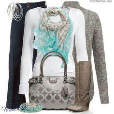 Fall fashion: silver & aqua