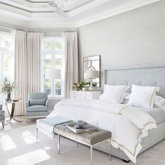 Looking for some French bedroom ideas? well, you are in the right page. French bedroom design is popular for its elegance and whimsy. Farmhouse Style Bedrooms, Farmhouse Master Bedroom, Master Bedroom Design, Home Decor Bedroom, Modern Bedroom, Living Room Decor, Bedroom Ideas, Bedroom Furniture, Bedroom Designs