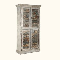 Functional and charming, the handcrafted storage armoire is made from reclaimed wood, providing solid construction to last long. The doors striking carvings, finish and construction compliment the traditional hardware and wooden latches, making it into a time-honored piece of furniture for traditional to transitional homes.  The rustic storage cabinet comes with two double door cabinets with two shelves behind each of the two cabinets. Stack clothing, books, or extra stuff to organize the…