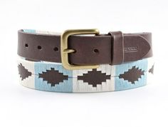 Polo belt, red brown leather, Argentinian pale blue/white, Bandera Pampeano belt