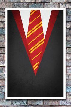 Minimal Gryffindor Robe Poster - Harry Potter Art Print - 11x17. $13.99, via Etsy.