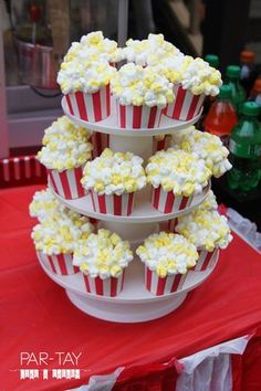 Drive in Movie Party How-To - Movie - Ideas of trending and latest movie - - movie party popcorn cupcakes Carnival Birthday Parties, Circus Birthday, Birthday Party Themes, Baseball Birthday, 13th Birthday, 50s Theme Parties, Movie Theatre Birthday Party, Grease Themed Parties, Carnival Party Foods