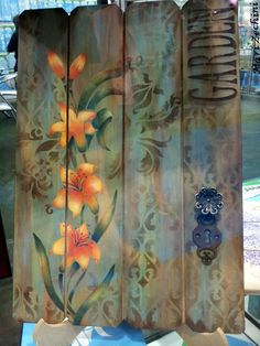 Toka da Arte Atelier: Inspirações da Mega Artesanal! Decoupage Vintage, Decoupage Art, Painting Shutters, Fabric Painting, Painting On Wood, Old Wood Projects, Wood Crafts, Diy And Crafts, Painted Chairs