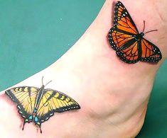 Butterflies (Yellow Tiger Swallowtail and Monarch) Tattoo by Shane ONeill . Small Rib Tattoos, Tattoos For Women Small, Leg Tattoos, Girl Tattoos, Sleeve Tattoos, Tattoos For Guys, Tatoos, Monarch Tattoo, O Tattoo