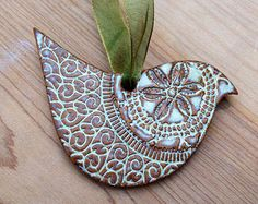 Dove Ornament - White or Turquoise Blue - Ceramic Stoneware Pottery